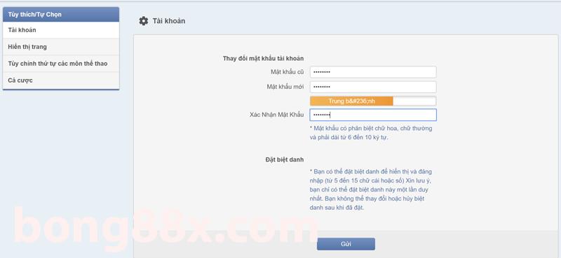 đổi mật khẩu đăng nhập bong88